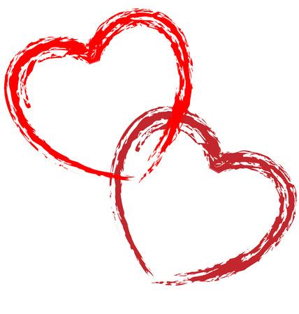Couple of artistic hearts on white background. Illustration