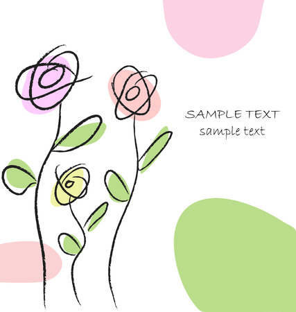 Modern style hand drawing greeting card. Perfect for adding text.