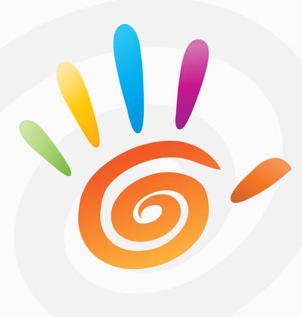 on fingers: Resumen de color mano de espiral con los dedos.  Vectores