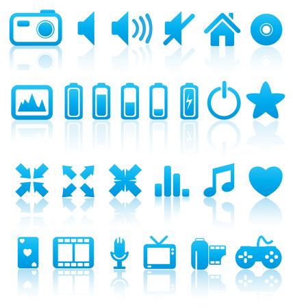 Ensemble de vecteur web multim�dia boutons, ic�nes. Audio, vid�o. photo, batterie, volume et autres. Illustration