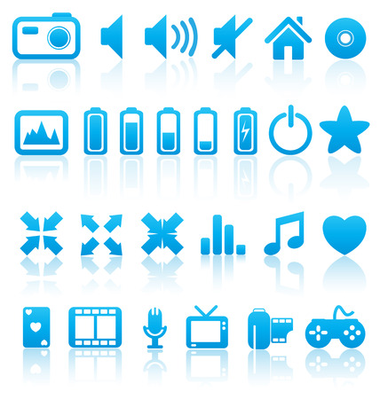Set of vector multimedia web buttons, icons. Audio, video. photo, battery, volume and other. Illustration