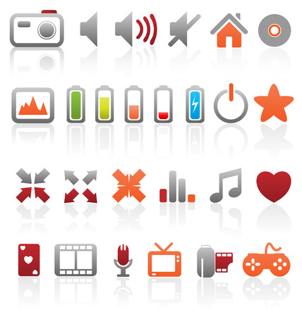 charging: Set of vector multimedia web buttons, icons. Audio, video. photo, battery, volume and other. Illustration