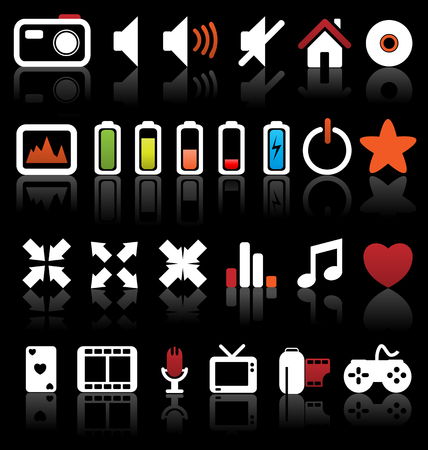 Set of vector multimedia web buttons, icons. Audio, video. photo, battery, volume and other. Vector