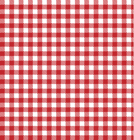 Red vector checkered picnic tablecloth. Good as background or backdrop. Vector