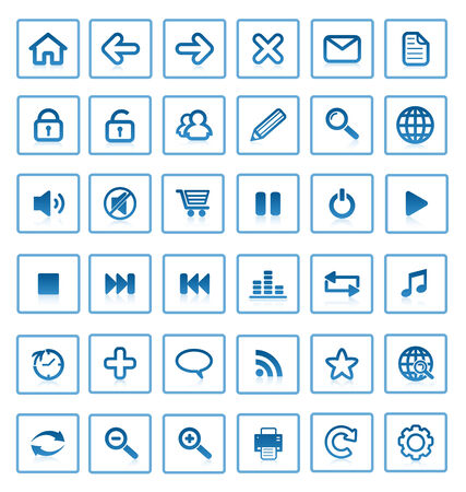 Collection of vector internet icons and buttons. Good for browser, mediasoftware, website and etc. Vector