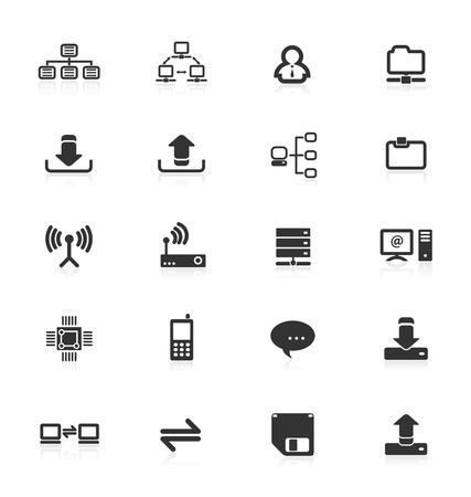 information medium: Collection of computer network communications icons. Illustration