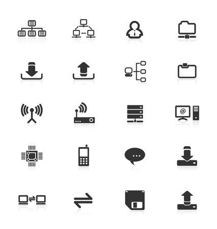 communicatie: Verzameling van computer netwerk communicatie icons.