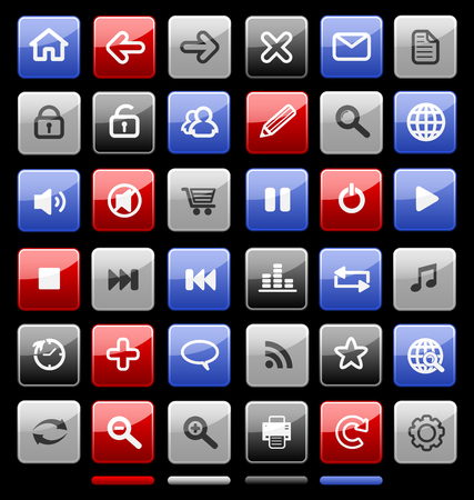 Collection of internet icons and buttons. Good for browser, multimedia, website and etc. Vector