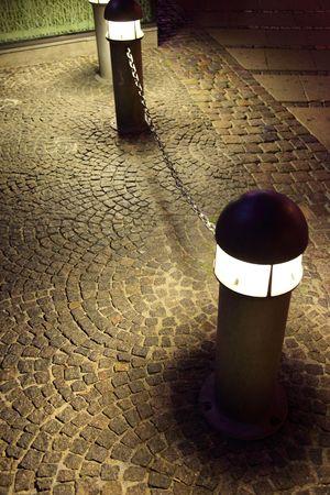 lamp post: Modern street light. Copenhagen at night, Denmark, Europe.
