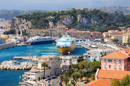 french riviera: Beautiful harbor od Nice with big cruise ships, France, Europe. Cote DAzur. Stock Photo