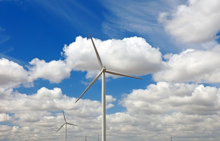 Wind power generator and blue sky, France, Europe. photo