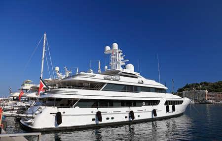 A very expensive luxury yacht in Monaco harbor, Europe. photo