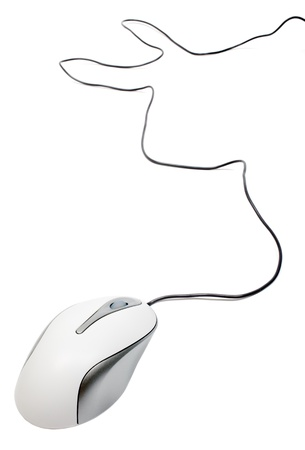 White computer mouse with wire isolated on white background. Stock Photo