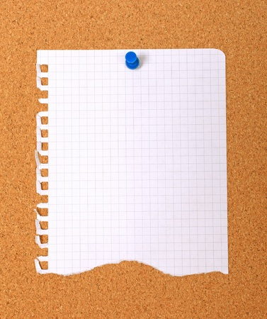 Torn note paper attached with blue pin to cork board, good as background or backdrop.