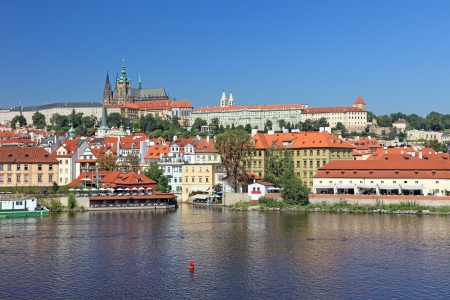 prague castle: Beautiful cityscape of old Prague, capital of Czech Republic. Stock Photo