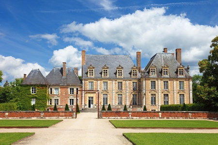 Old french nobility mansion with beautiful garden and architecture, Europe.