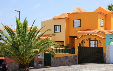 mediterranean home: Luxury spanish villa building, Tenerife Island, Canary.