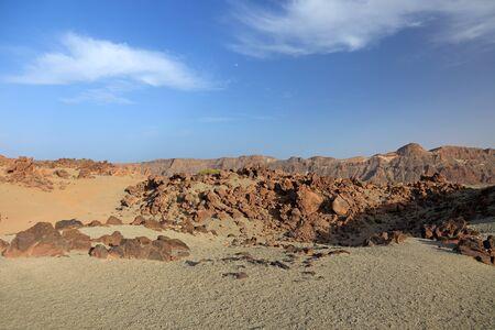 volcanic stones: Desert landscape of El Teide volcano, Tenerife Island, Canary.