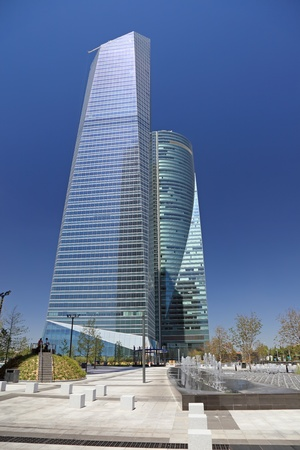 steel building: Modern skyscrapers, cityscape of Madrid - the capitol of Spain, Europe.