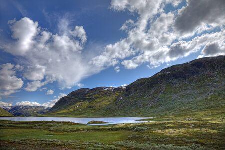 scandinavian landscape: Picturesque norwegian landscape with small lake and green hills, scandinavian Europe.