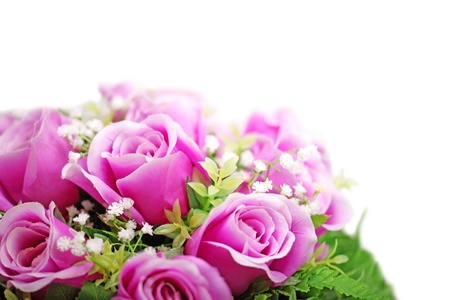 bridal bouquet: Purple roses bouquet isolated on white background.