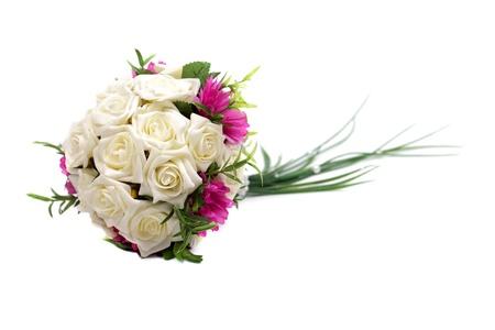Bouquet de mariage isol� sur fond blanc, tourn� en studio. Banque d'images