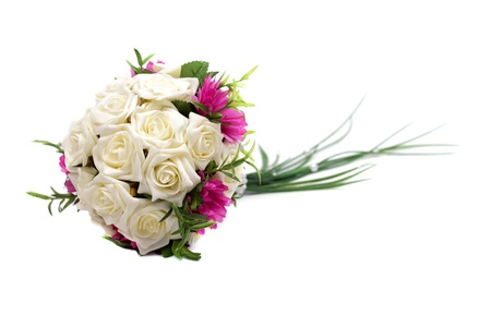 Wedding bouquet isolated on white background, studio shot. photo