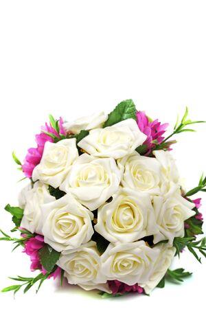 Bridal bouquet of roses isolated on white background. Stock Photo