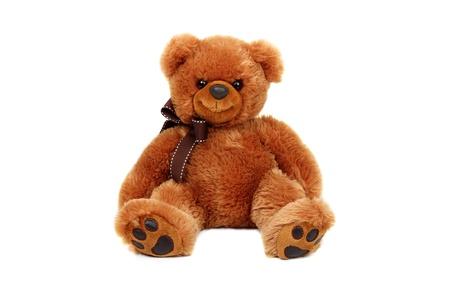 teddybear: Horizontal studio shot of brown bear toy isolated on white background. Stock Photo