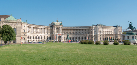 congress center: View from Heldenplatz Helden square to the Austrian National Library and Hofsburg congress center. It is former residence of Hapsburg dynasty.