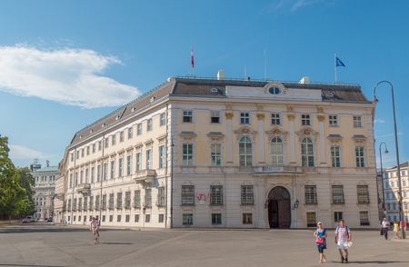 abbreviated: VIENNA, AUSTRIA 16 JUL 2014: The Federal Chancellery Bundeskanzleramt, abbreviated BKA, is a federal agency on cabinet-level, serving as the executive office of the Chancellor of Austria