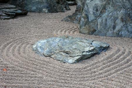 raked: Abstract asian raked sand in park. Stock Photo