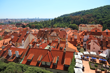 tiled: Cityscape view of old Prague from high view point.