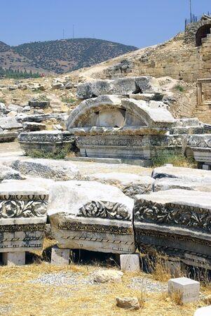 hierapolis: Ancient Ruins of Hierapolis city. Pamukkale, Turkey. Stock Photo