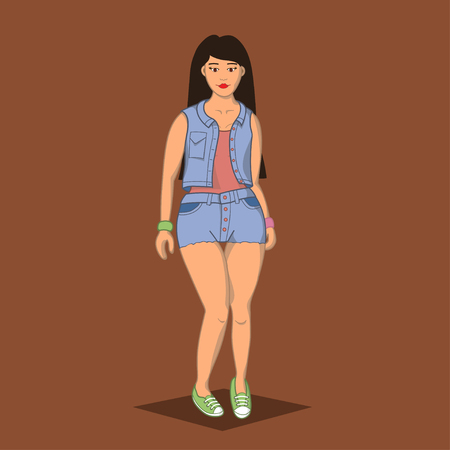 little girls: Illustration cartoon beautiful young girl in denim suit and green sneakers. The girl with long hair is bent leg