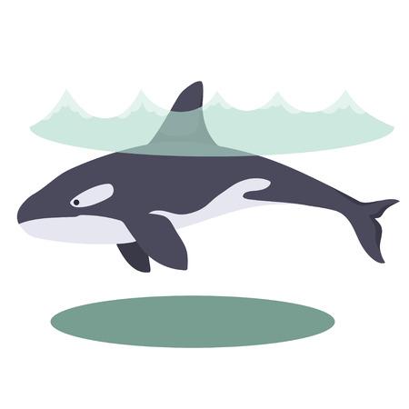 Illustration of a cartoon beautiful killer whale underwater.