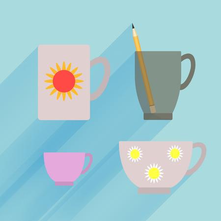 Dark transparent mug isolated, porcelain demitasse and teacup with flower pattern on blue background.