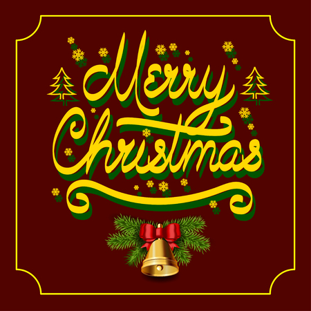 claret: gold inscription Merry Christmas with snowflakes fir trees with shade, Christmas bell with spruce branches on the claret background.