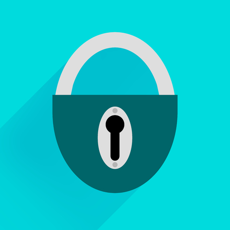 Robust dark green padlock on a blue background Illustration