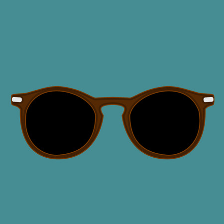 burlesque: Hipster brown color sunglasses isolated vector on a indigo dye background Illustration