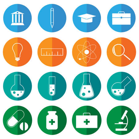 Science and education flat icons