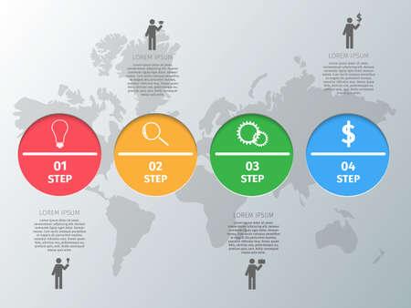 glas: Infographics design circles on a grey world map background. Illustration