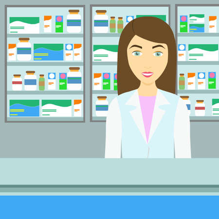 tinted: Modern flat female pharmacist blue tinted background. Illustration