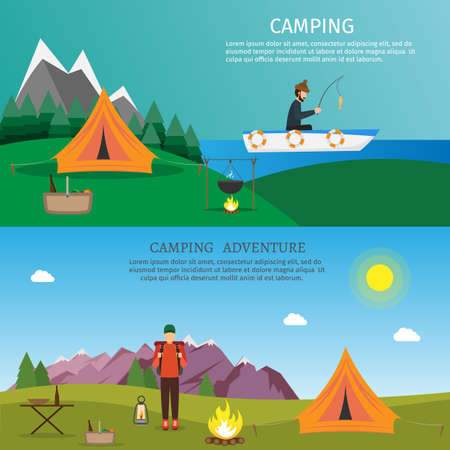Hiking and outdoor set flat nature camping travel vector illustration Illustration