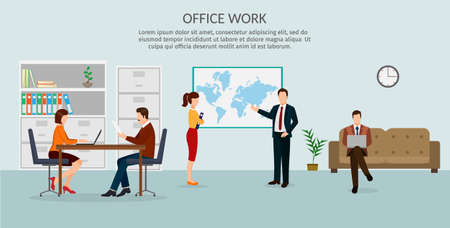 Simple and flat design set of business concept, training, meeting, agreement or partnership. Character of businesspeople, group, diverse. Office work. Illustration