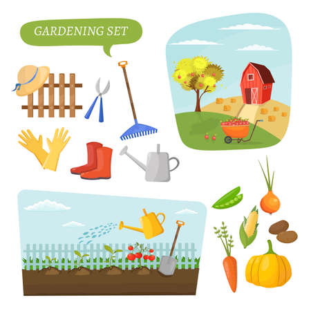organic farming: Garden colorful designs elements vector farm illustration icon set of different gardening equipment.