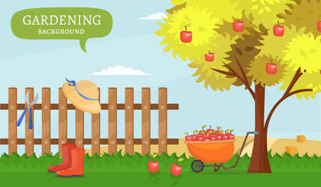 Garden colorful designs elements vector farm illustration icon set of different gardening equipment.