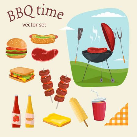 picnic food: Fruit, wine, barbecue, picnic grill, watermelon on the grass set. Summer time on meadow.