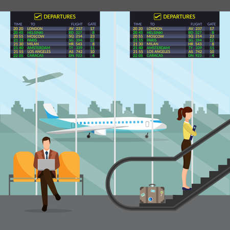 steward: Airport passenger terminal and waiting room. International arrival and departures background vector illustration infographic Illustration