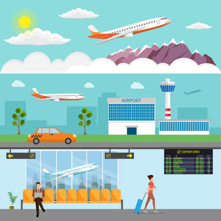Airport passenger terminal and waiting room. International arrival and departures background vector illustration infographic Illustration